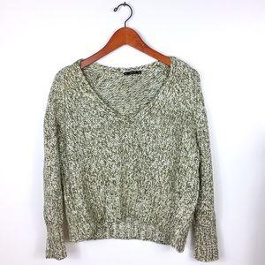 Zara Ivory Olive Chunky Knit Cropped Jumper size S